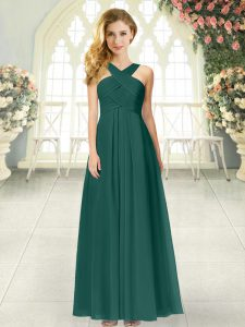 Stunning Ruching Pageant Dresses Peacock Green Zipper Sleeveless Floor Length
