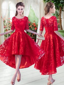Stylish Red Zipper Scoop Half Sleeves High Low High School Pageant Dress Lace