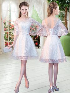 Knee Length A-line Half Sleeves White Pageant Dress for Teens Lace Up