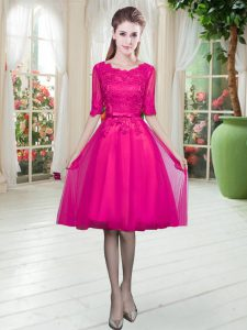 Scoop Half Sleeves Tulle Pageant Dress for Teens Lace Lace Up