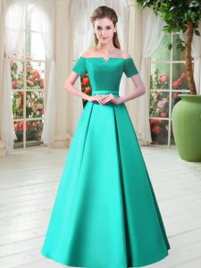 Noble Short Sleeves Satin Floor Length Lace Up Custom Made Pageant Dress in Turquoise with Belt