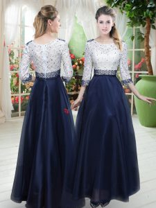 Trendy Floor Length Navy Blue Pageant Dress for Girls Organza 3 4 Length Sleeve Beading and Lace