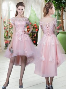 High Low Baby Pink Pageant Dress for Teens Off The Shoulder Half Sleeves Lace Up