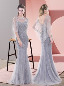 Zipper Pageant Dress Wholesale Grey for Prom and Party with Beading Sweep Train