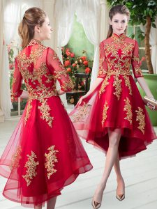 Red A-line High-neck Half Sleeves Tulle High Low Zipper Appliques Pageant Dress for Teens