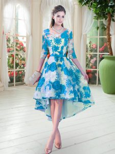 Fabulous Half Sleeves Lace High Low Lace Up Pageant Gowns in Blue And White with Belt