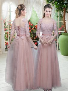 Extravagant Pink Half Sleeves Floor Length Lace Lace Up Glitz Pageant Dress