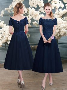 Unique Navy Blue Zipper Scalloped Lace Pageant Dress for Womens Short Sleeves