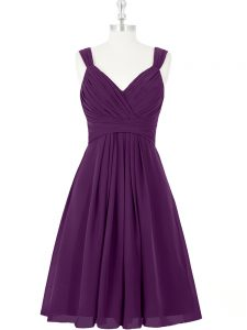 Purple Sleeveless Ruching Mini Length Pageant Gowns