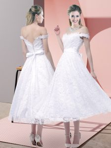 Cute Belt Winning Pageant Gowns White Criss Cross Sleeveless Tea Length