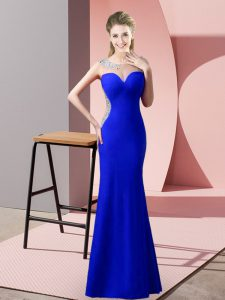 Sophisticated Royal Blue Zipper Pageant Dress Beading and Pick Ups Sleeveless Floor Length