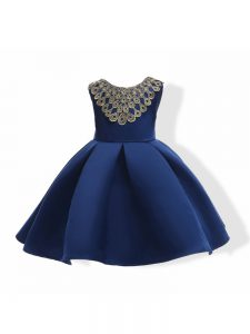 Sleeveless Mini Length Appliques and Bowknot Zipper Little Girls Pageant Gowns with Navy Blue