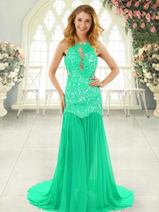Amazing Sleeveless Chiffon Brush Train Backless High School Pageant Dress in Turquoise with Lace