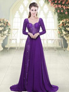 Eggplant Purple Backless Pageant Dress Toddler Beading and Lace Long Sleeves Sweep Train