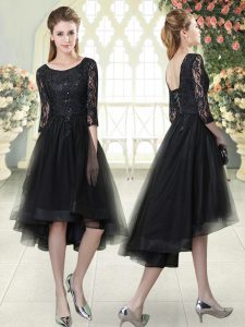 Scoop Half Sleeves Lace Up Pageant Dresses Black Tulle