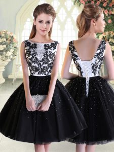 Scoop Sleeveless Tulle Pageant Dress for Teens Beading and Lace Lace Up