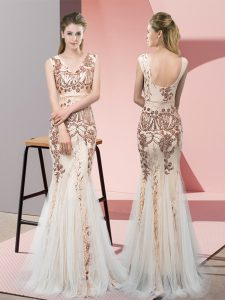 Graceful Champagne V-neck Backless Sequins Pageant Dress Womens Sleeveless