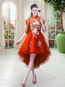 Best Selling Orange Red Half Sleeves High Low Appliques Zipper Pageant Dresses