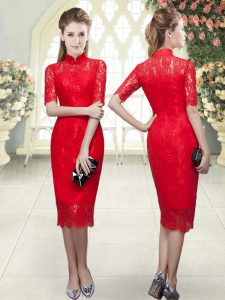 Tea Length Red Evening Gowns Half Sleeves Beading and Lace