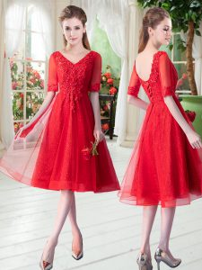 Half Sleeves Tulle Knee Length Lace Up Pageant Gowns in Red with Beading and Appliques