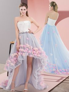 High Class A-line Pageant Dress Grey Strapless Tulle Sleeveless High Low Lace Up