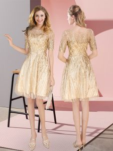 Great Gold Pageant Dress for Teens Prom and Party with Ruching Scoop Half Sleeves Zipper