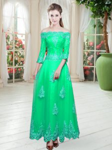 Turquoise Lace Up Pageant Dresses Lace 3 4 Length Sleeve Floor Length
