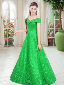 Sleeveless Lace Floor Length Lace Up Custom Made Pageant Dress in Green with Beading