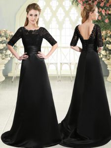 Dazzling Black Half Sleeves Elastic Woven Satin Sweep Train Lace Up Pageant Dress for Teens for Prom and Party