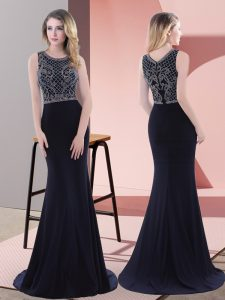 Designer Navy Blue Scoop Neckline Beading and Lace Pageant Dress for Teens Sleeveless Zipper