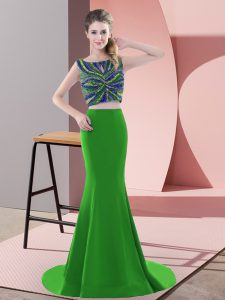 Sleeveless Satin Sweep Train Backless Pageant Dress Womens in Green with Beading and Pick Ups