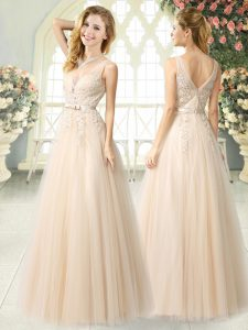 Champagne A-line Appliques Pageant Dress for Girls Zipper Tulle Sleeveless Floor Length