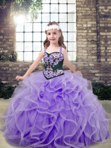 Simple Floor Length Ball Gowns Sleeveless Lavender Kids Formal Wear Lace Up