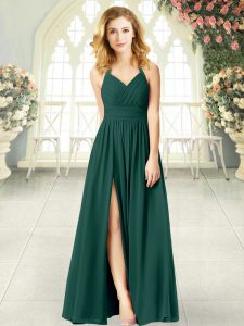 High Quality Chiffon Halter Top Sleeveless Zipper Ruching Pageant Dress for Womens in Peacock Green