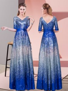 Royal Blue Sequined Zipper V-neck Half Sleeves Floor Length High School Pageant Dress Ruching