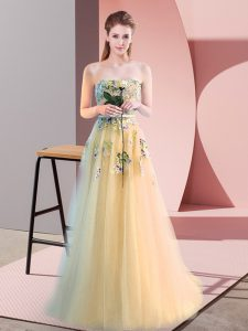 Gorgeous A-line Pageant Dress Light Yellow Sweetheart Tulle Sleeveless Floor Length Lace Up