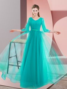 Turquoise V-neck Lace Up Beading Pageant Gowns Long Sleeves