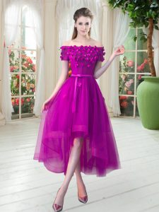 High Low Fuchsia Winning Pageant Gowns Off The Shoulder Short Sleeves Lace Up