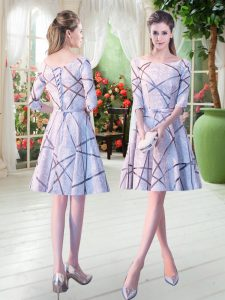 Amazing Knee Length A-line Half Sleeves Grey Pageant Dress for Girls Lace Up