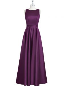 Latest Floor Length Empire Sleeveless Eggplant Purple Pageant Dress for Teens Backless