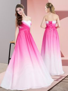 High Class Sleeveless Ruching Lace Up Pageant Dresses