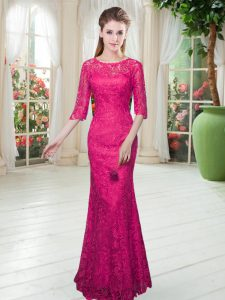 Elegant Half Sleeves Floor Length Lace Zipper Evening Gowns with Hot Pink