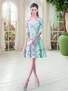 Knee Length Lace Up Pageant Dresses Apple Green for Prom and Party with Ruching