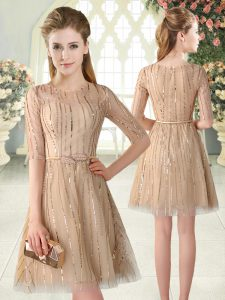 Elegant Champagne Zipper Scoop Sequins Pageant Dress for Teens Tulle Half Sleeves