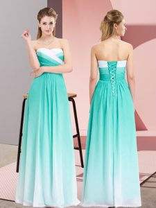 Noble Sleeveless Lace Up Floor Length Ruching Pageant Dress for Teens