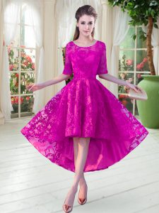 Luxury Scoop Half Sleeves Zipper Lace Custom Made Pageant Dress in Fuchsia