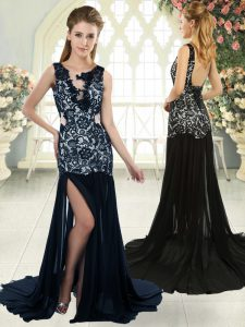 Exceptional Scoop Sleeveless Brush Train Backless High School Pageant Dress Navy Blue Chiffon