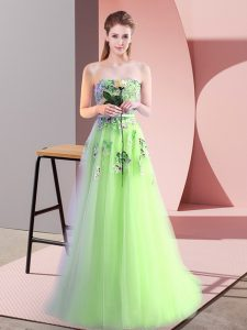 Fine A-line Tulle Sweetheart Sleeveless Appliques Floor Length Lace Up Glitz Pageant Dress