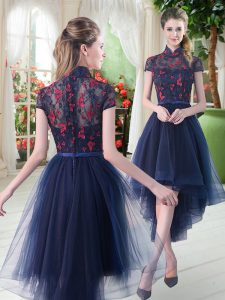 Suitable Short Sleeves Zipper High Low Lace Pageant Gowns