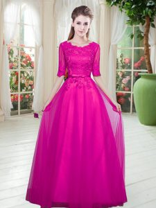 Sophisticated Scoop Half Sleeves Lace Up Pageant Dress for Teens Fuchsia Tulle